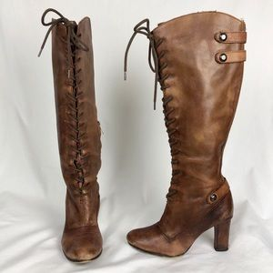 Sam Edelman Brown Lace Up Tall Leather Boots sz 6